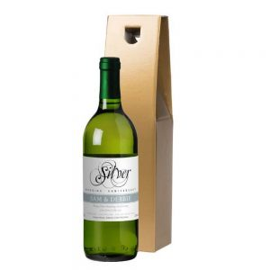 Personalised Silver Anniversary White Wine & Gold Gift Box