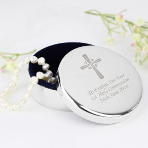 Personalised Silver Cross Trinket Box
