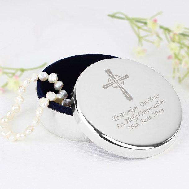 Personalised Silver Cross Trinket Box