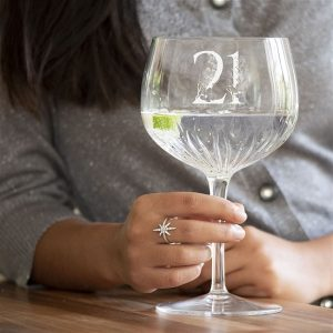 Personalised Special Milestone Crystal Cut Gin Glass