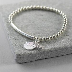 Personalised Sterling Silver Star Sign Stretch Bracelet