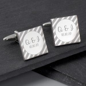Personalised Stripes Square Cufflinks