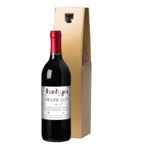 Personalised Thank You Daisies Red Wine & Gold Gift Box