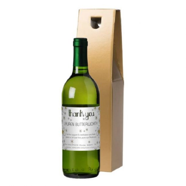 Personalised Thank You Daisies White Wine & Gold Gift Box
