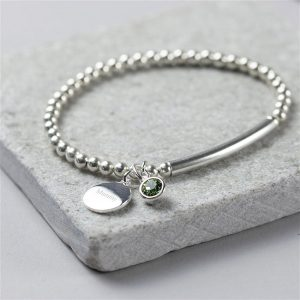 Personalised Sterling Silver Birthstone Stretch Bracelet