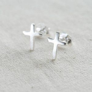 Sterling Silver Cross Earrings & Personalised Gift Box