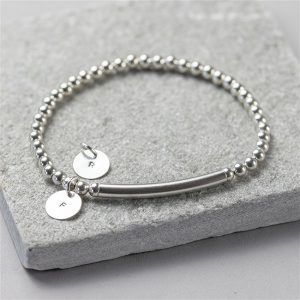 Sterling Silver Disc Stretch Bracelet & Personalised Gift Box