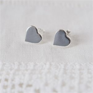 Sterling Silver Heart Studs & Personalised Gift Box
