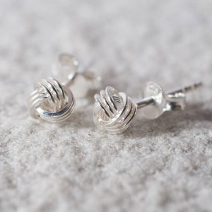 Sterling Silver Tying The Knot Stud Earrings & Personalised Gift Box
