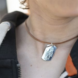 Sterling St Christopher Dog Tag on Leather Necklace