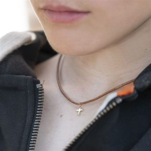 Tiny 9ct Gold Cross & Leather Necklace