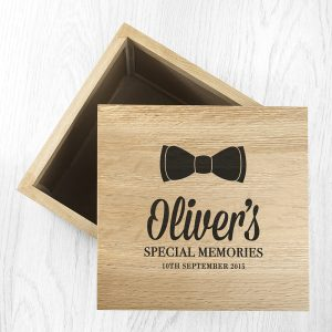 Personalised Baby Boy Bow Oak Photo Keepsake Box