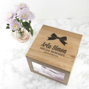 Personalised Baby Girl Ribbon Oak Photo Keepsake Box