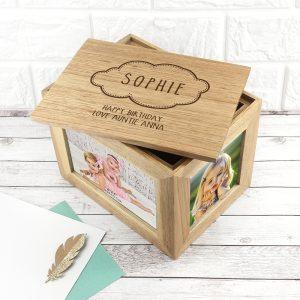 Personalised Baby Name Cloud Midi Photo Cube Keepsake Box