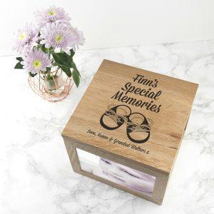 Personalised Baby Shoes Boy Large Oak Photo Keepsake Box