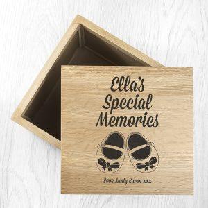Personalised Baby Shoes Girl Large Oak Photo Keepsake Box