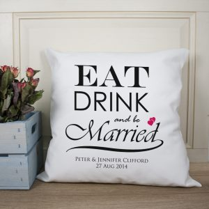 Personalised Eat Drink And Be Married Cushion Cover