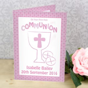 Personalised First Holy Communion Card Pink