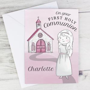 Personalised Girls First Holy Communion Card