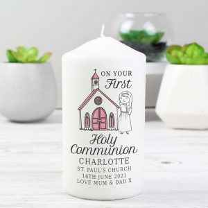Personalised Girls First Holy Communion Pillar Candle