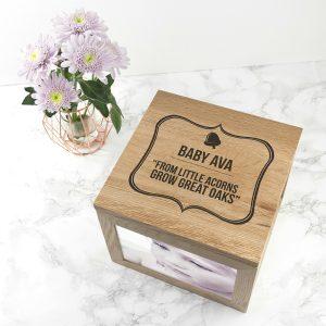 Personalised Little Acorns Large Keepsake Box