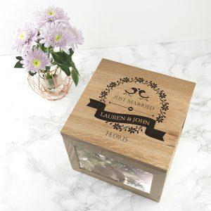 Personalised Love Birds Large Oak Photo Cube & Keepsake box