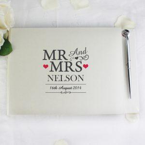 Personalised Mr & Mrs Hardback Guest Book & Pen
