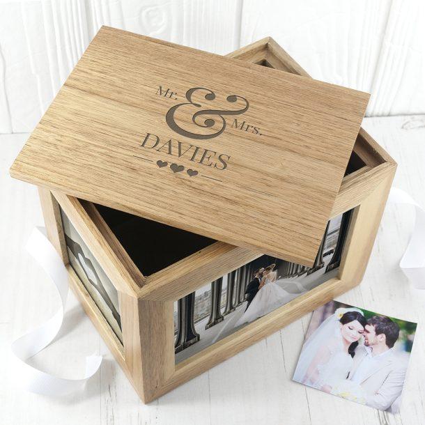 Personalised Mr & Mrs Midi Oak Photo Cube & Keepsake box