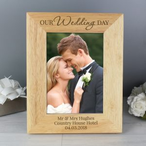 Personalised 'Our Wedding Day' 5x7 Wooden Photo Frame
