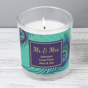 Personalised Peacock Scented Jar Candle
