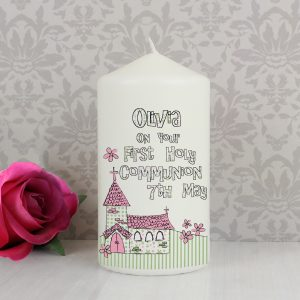 Personalised Whimsical Church Pink 1st Holy Communion Pillar Candle