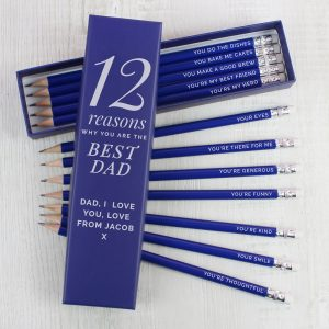 Personalised 12 Reasons Box and 12 Blue HB Pencils