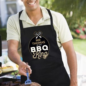 Personalised BBQ King Black Apron