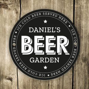 Personalised Beer Garden Black Plaque