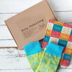 Personalised Bike Letterbox Gift Socks & Notebook