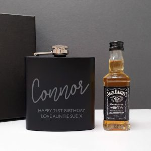 Personalised Black Hip Flask & Miniature Jack Daniels