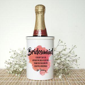 Personalised Bridesmaid Orange Champagne Bucket