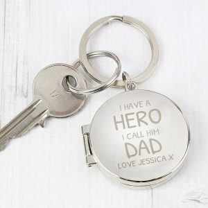 Personalised I Have A Hero Round Photo Keyring