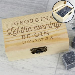 Personalised Let The Evening Be-Gin Cooling Stones