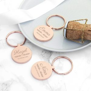 Personalised Rose Gold Bridal Party Keyring