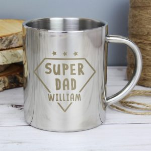 Personalised Super Dad Stainless Steel Mug