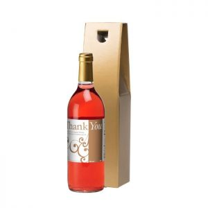 Personalised Thank You Swirls Rosé Wine & Gold Gift Box