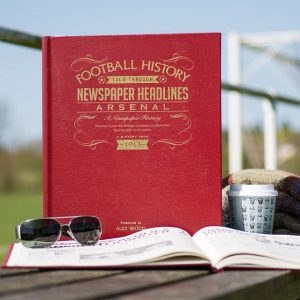 Personalised Arsenal A3 Leather Cover Football Newspaper Book