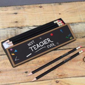 Personalised Best Teacher Chalkboard Black Pencils & Box