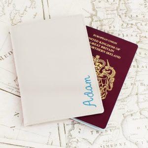 Personalised Blue Name Island Cream Passport Holder