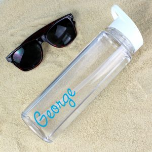Personalised Blue Name Island Inspired Water Bottle
