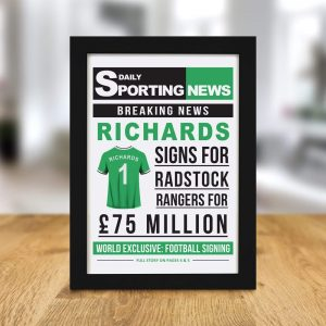 Personalised Football Signing Newspaper A4 Framed Print
