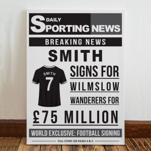 Personalised Football Signing Newspaper Canvas