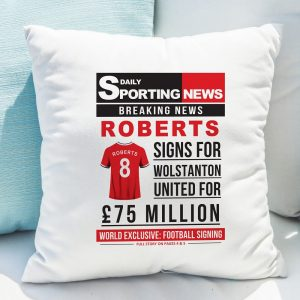 Personalised Football Signing Newspaper Cushion