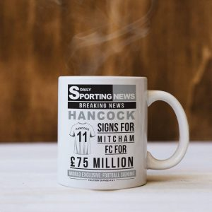 Personalised Football Signing Newspaper Mug